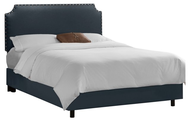 Ellis Nail-Button Bed, Navy