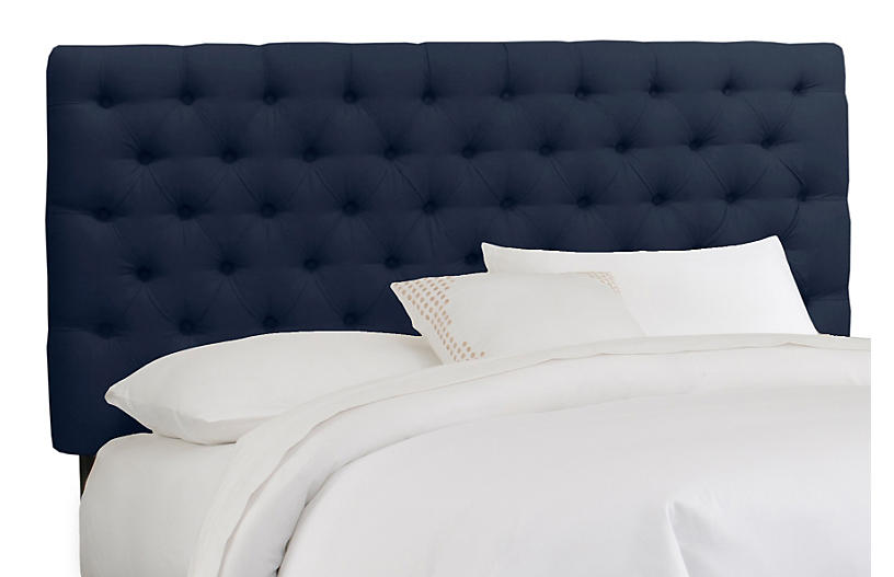 Ava Tufted Headboard, Navy Linen