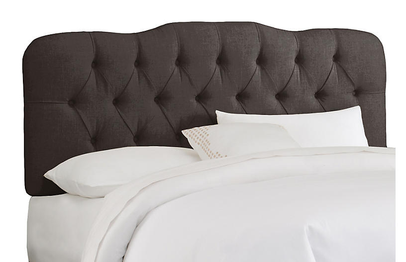Davidson Tufted Headboard, Charcoal Linen