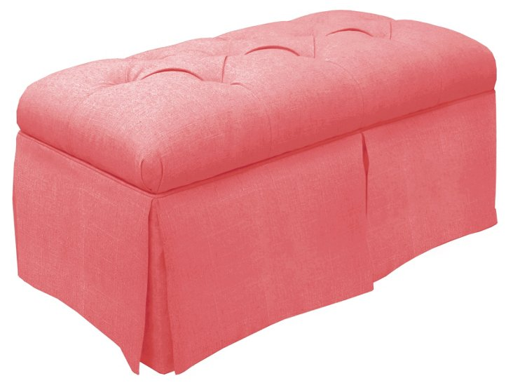 Olivia Tufted Storage Bench, Coral