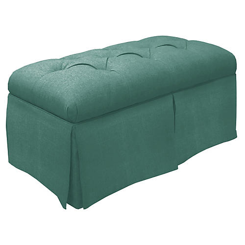 Olivia Skirted Storage Bench, Seafoam Linen
