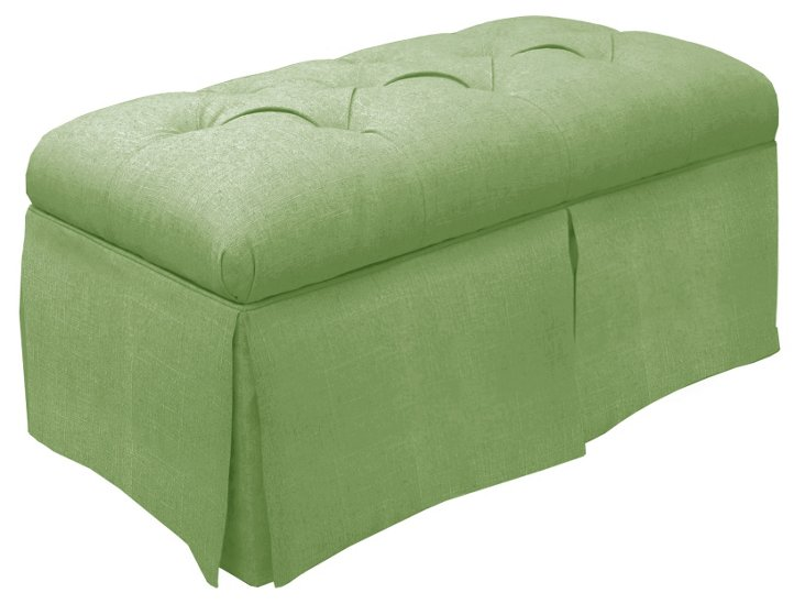 "Olivia 36"" Skirted Storage Bench, Mint"