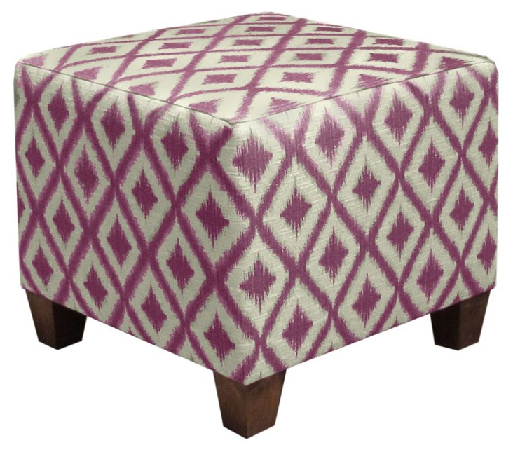 Berit Square Ottoman, Raspberry/White