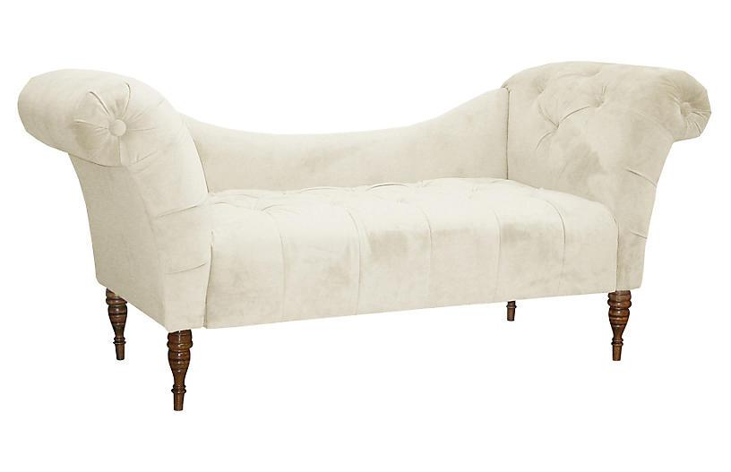 Cameron Tufted Chaise, Ivory Velvet