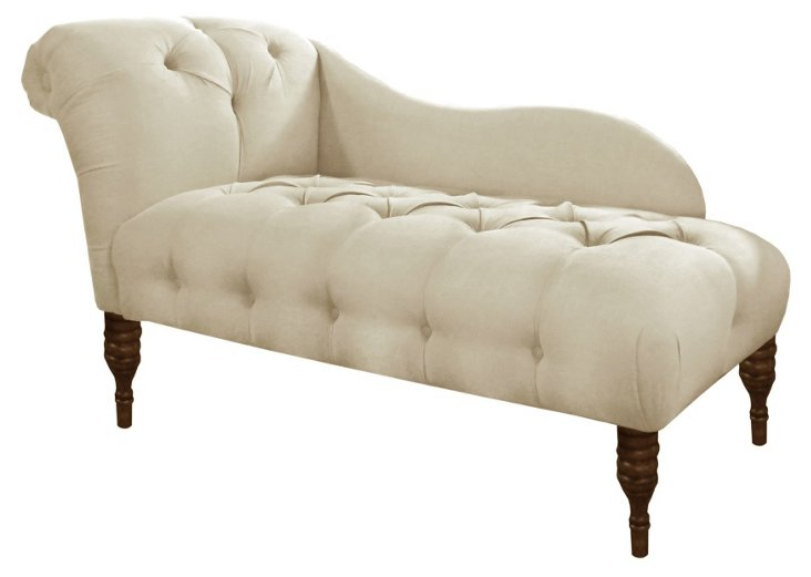 Francis Tufted Chaise, Talc Linen