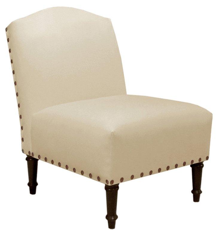 Clark Slipper Chair, Cream Velvet