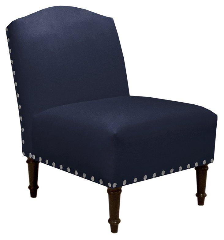 Clark Slipper Chair, Navy Velvet