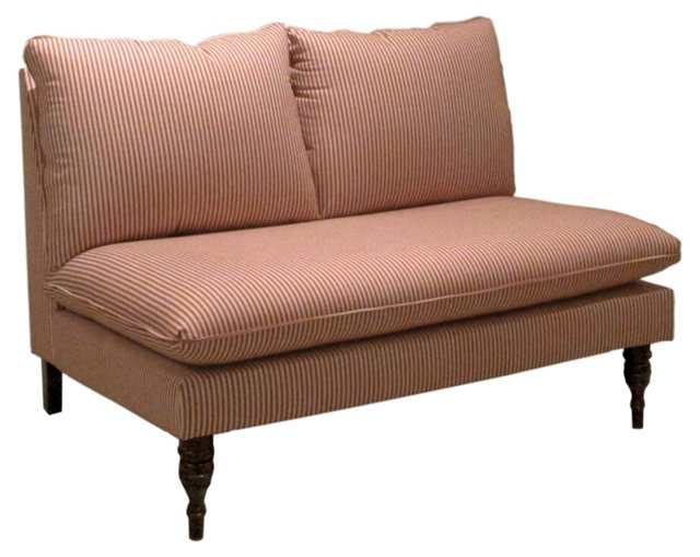 "Bacall 49"" Armless Settee, Red/Beige"