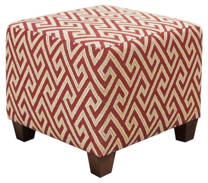 Berit Square Cotton Ottoman, Red/Beige