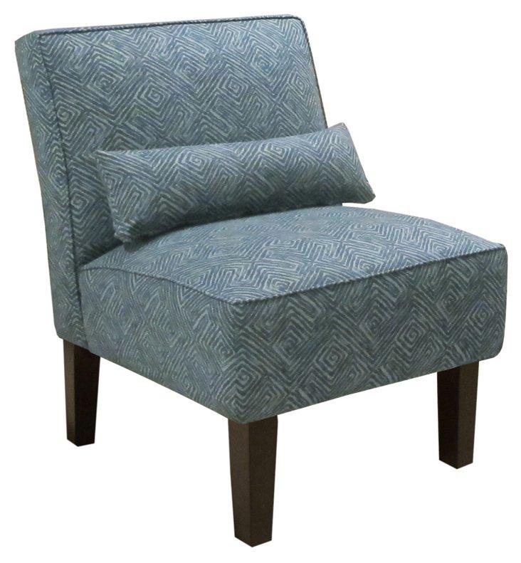 Bergman Armless Chair, Indigo/Light Blue