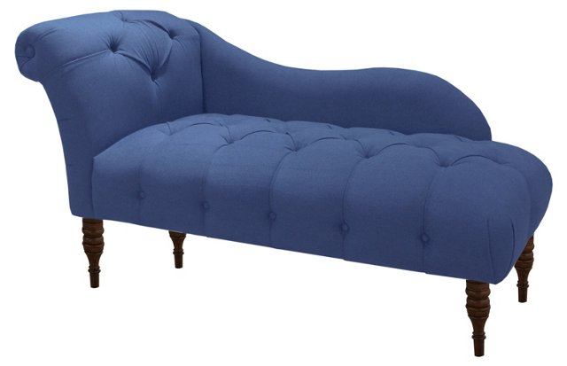Frances Tufted Chaise, Denim Blue