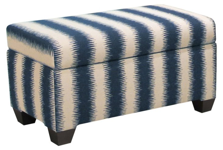 "Hayworth 38"" Storage Bench, Navy/Cream"