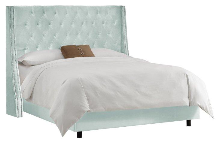 Sophia Velvet Wingback Bed, Light Blue