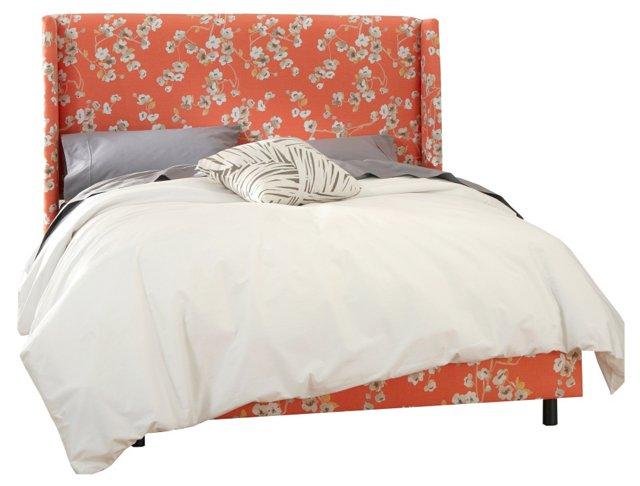 Orange/Multi Kelly Wingback Bed, Full