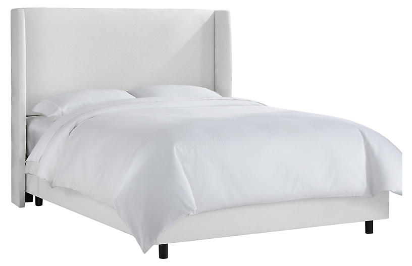 Kelly Wingback Bed, White Twill