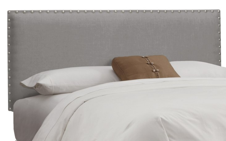 Loren Nail-Button Headboard, Gray