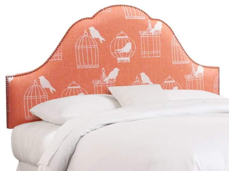 Hedron Headboard, Coral/White