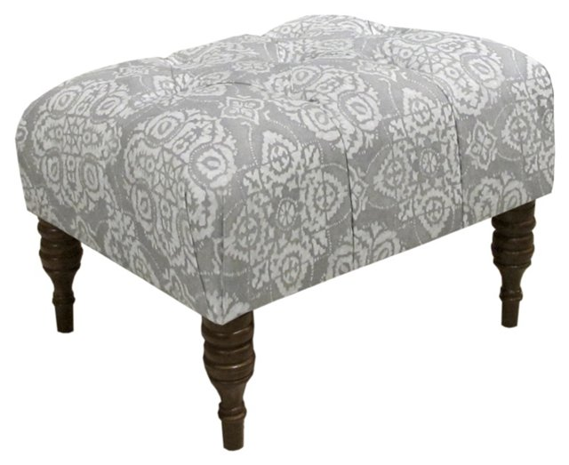Boyd Tufted Ottoman, Gray/Cream