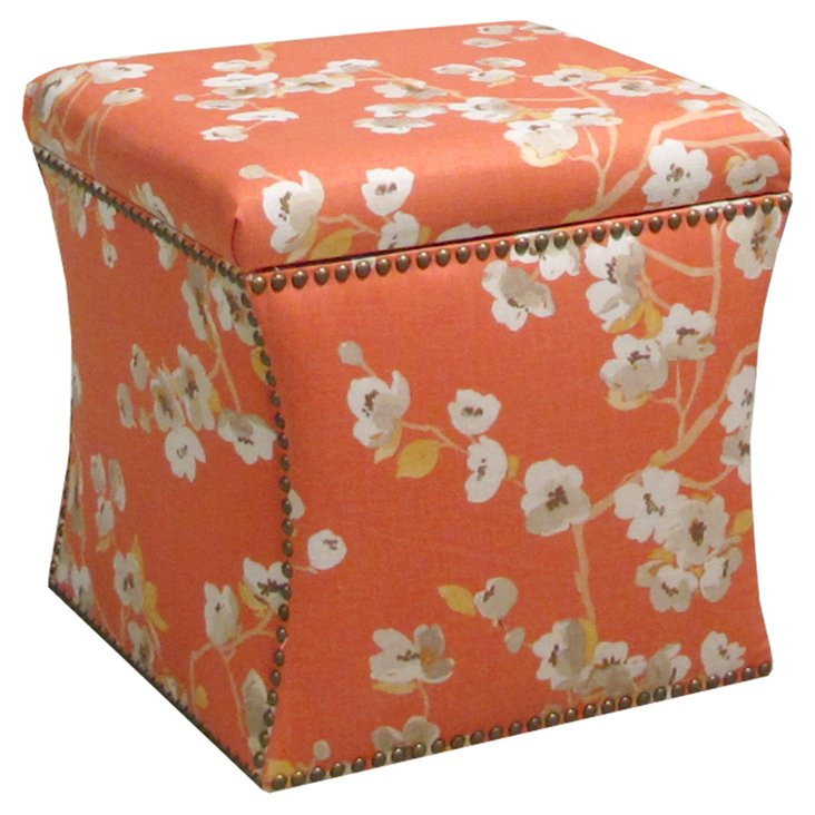 Merritt Storage Ottoman, Orange/Cream