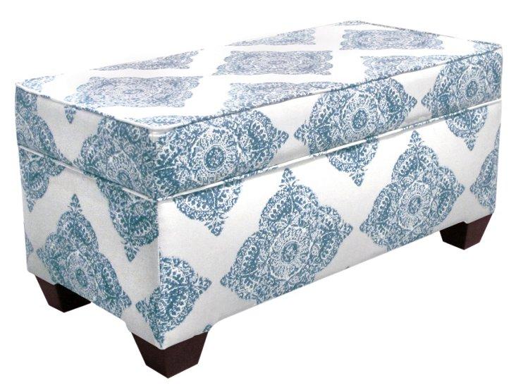 """Arthur 36"""" Storage Bench, Blue/Cream"""