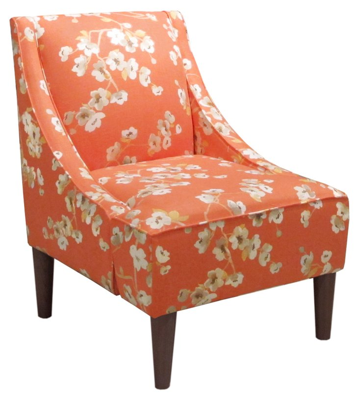 Quinn Swoop-Arm Chair, Orange/Cream