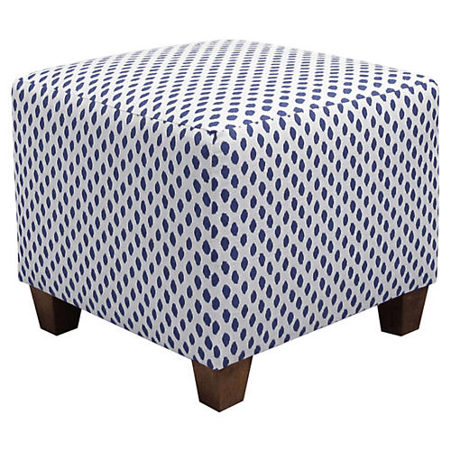 Berit Kids' Ottoman, Navy Dot