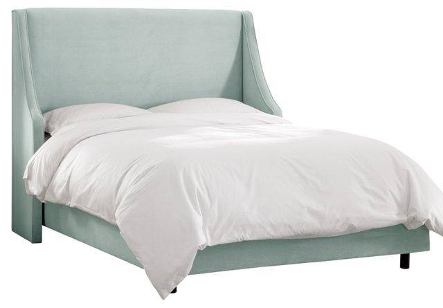 Davis Velvet Wingback Bed, Light Blue