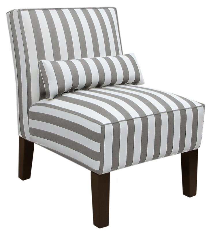 Bergman Cotton Armless Chair, Gray/White