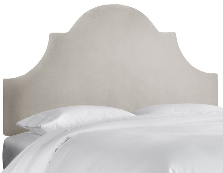 Liv Velvet Headboard, Light Gray