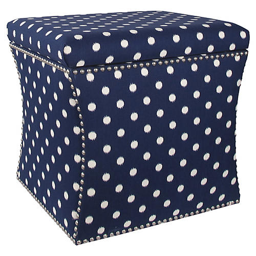 Merritt Storage Ottoman, Navy/White Dot