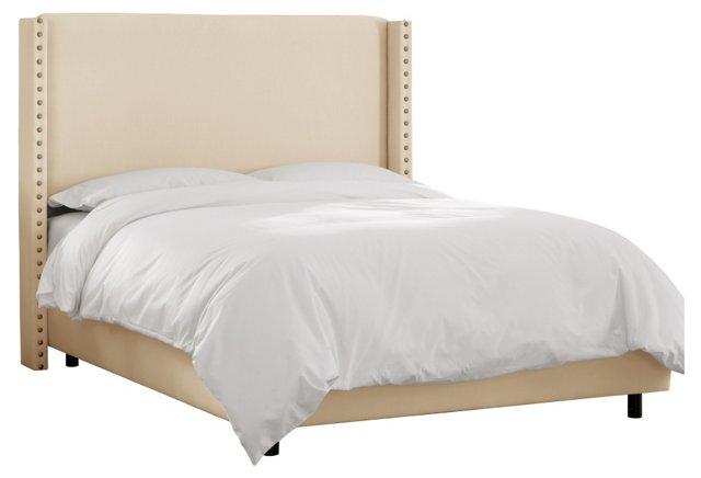 Flynn Wingback Bed, Cream