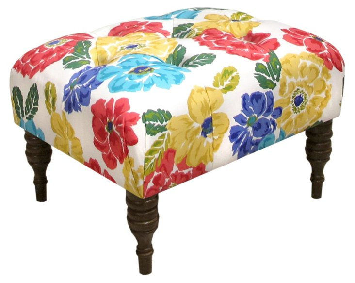 Boyd Tufted Ottoman, Pink/Yellow