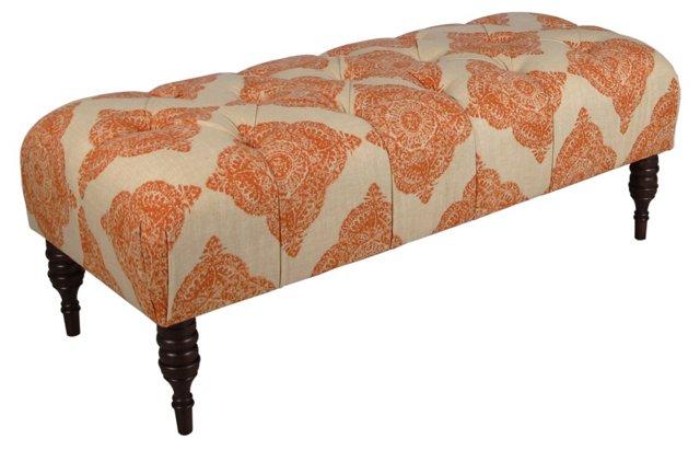 Stanton Tufted Bench, Orange/Natural