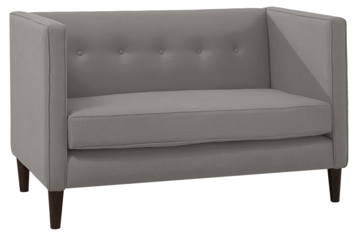 """Linley 52"""" Tufted Settee, Gray"""