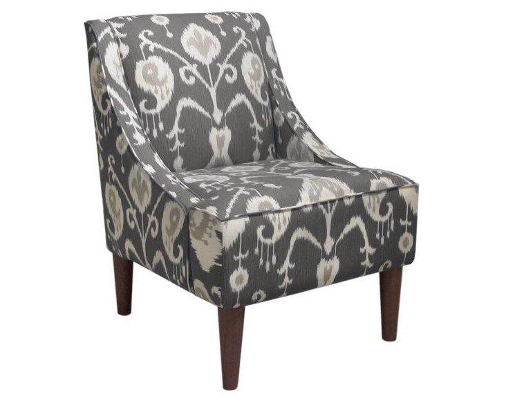 Quinn Swoop-Arm Chair, Smoke Gray Ikat