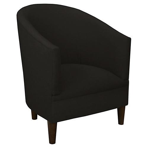 Ashlee Barrel Chair, Black Linen