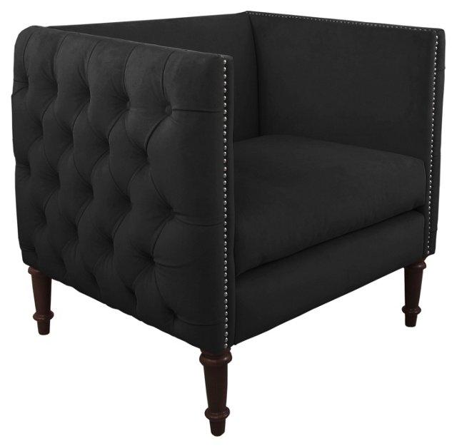 Aldridge Tufted Club Chair, Black