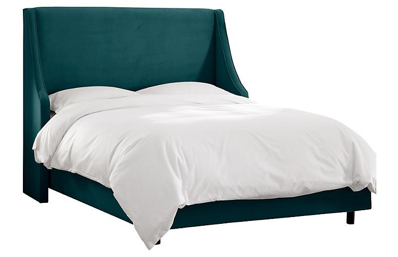 Davis Wingback Bed, Teal Velvet