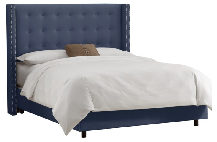 Clark Wingback Bed, Sapphire