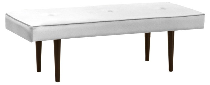 "Leila 48"" Button Bench, White Velvet"