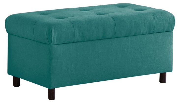 "Bonnie 36"" Tufted Storage Bench, Teal"