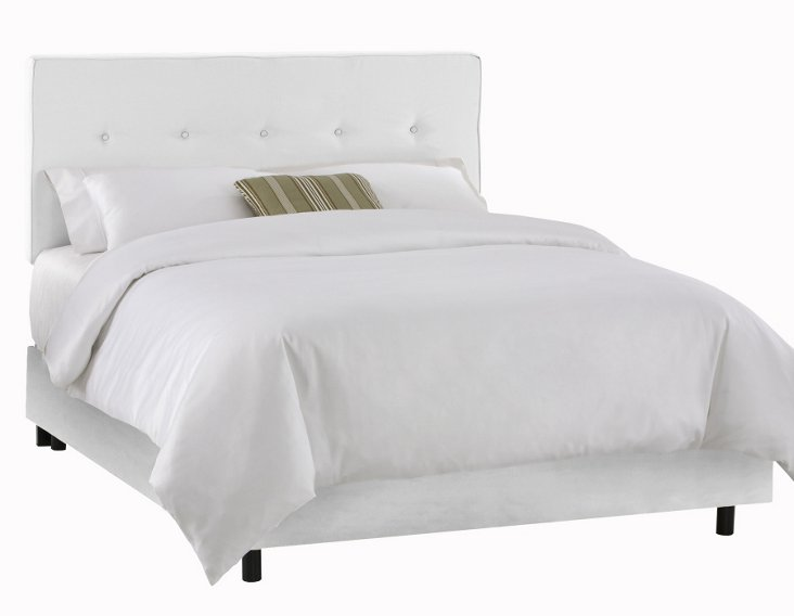 Jenna Button Bed, White