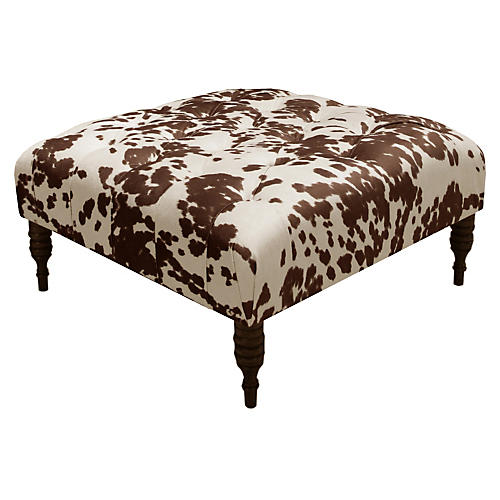 Elliot Tufted Cocktail Ottoman, Brown