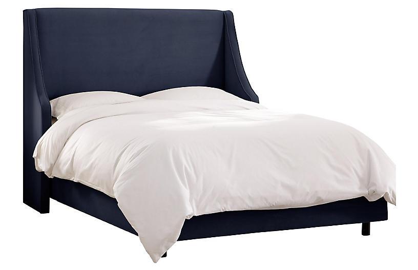 Davis Velvet Wingback Bed