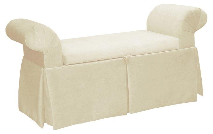 "Mara 51"" Roll-Arm Storage Bench, Cream"