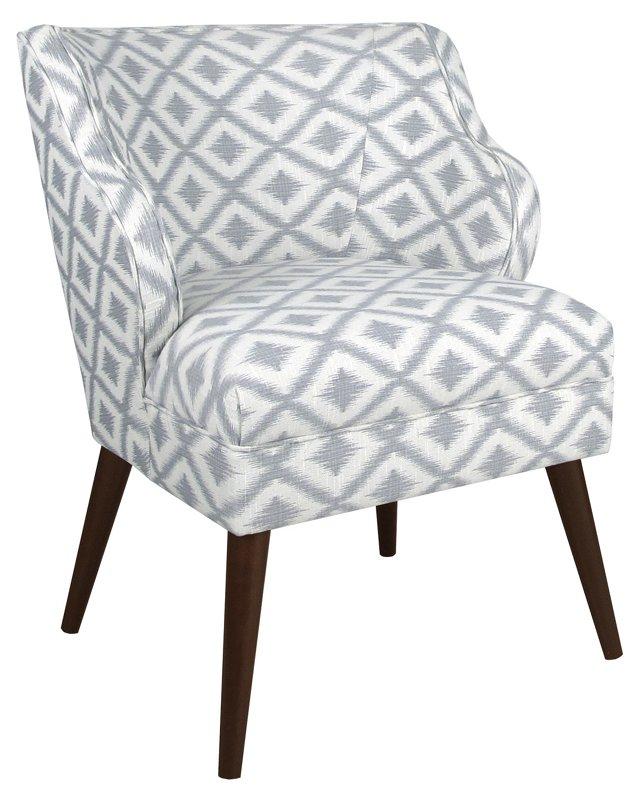 Kira Chair, Light Gray/White Diamond