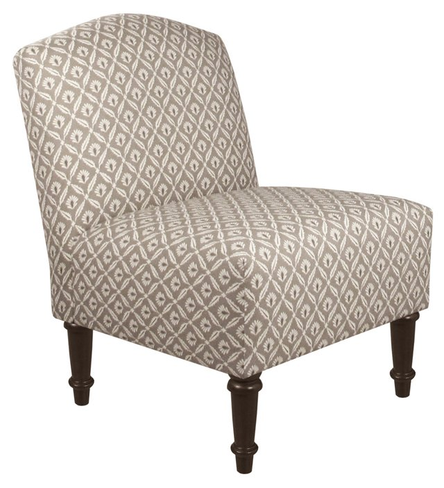 Clark Slipper Chair, Gray Geometric