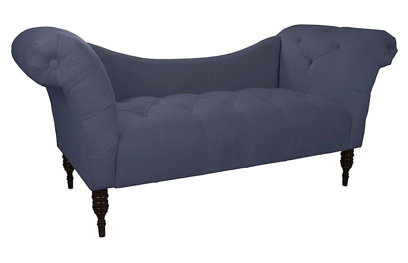 cameron tufted chaise blue velvet sofas settees