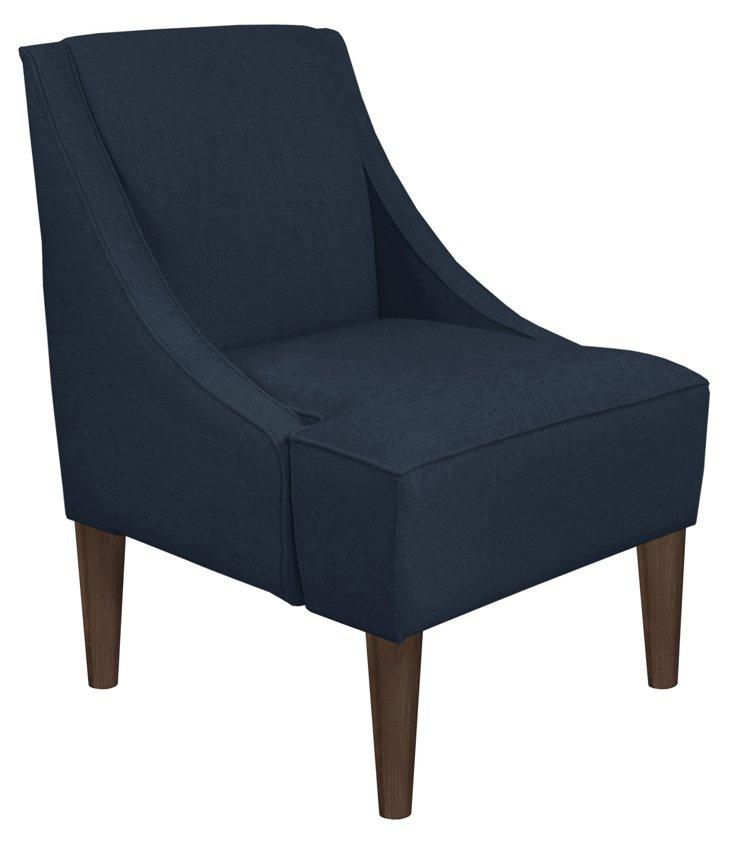 Quinn Swoop-Arm Chair, Navy/Brown