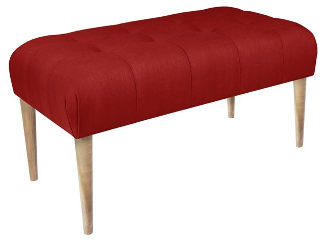 """Beau 39"""" Tufted Bench, Red Linen"""